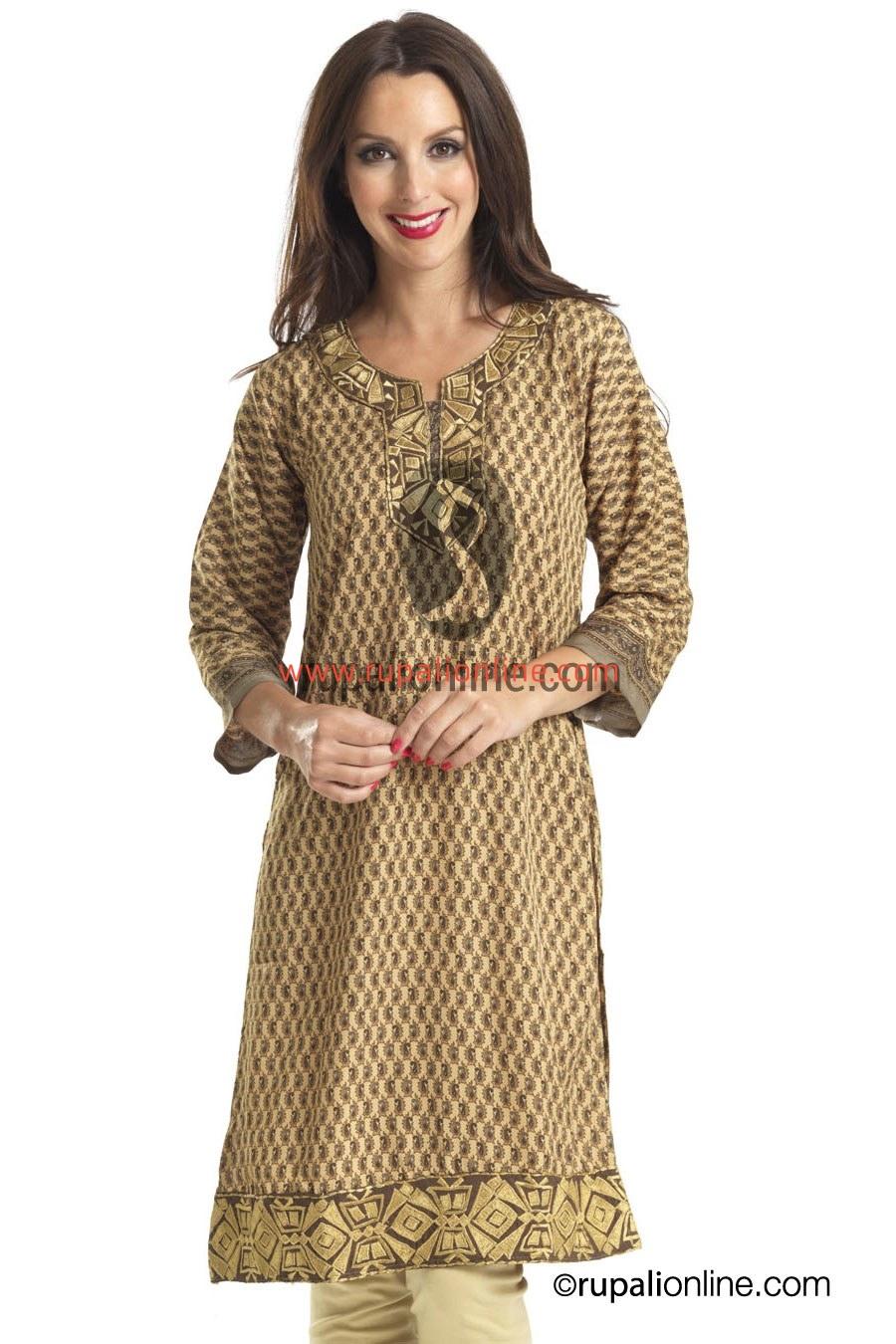 de243e19145 Soft crape printed long kurti with fine resham detailing neckline & daman  for a formal wear.